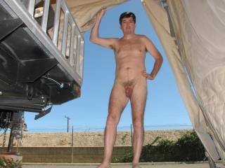 Entering my garage/tent while naked.