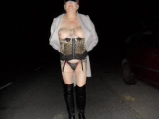 Hi all at it again walking along the road showing a little skin dirty comments welcome mature couple