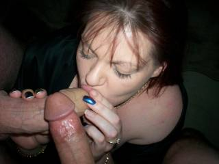 Making me so horny thinking of her sucking my shaft. Can I join in?