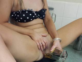 What a pittty!  Your pussy looks so good fucking that bottle!, I'd love to see more of your hoty body and your wet kitty!