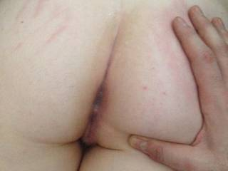 After I cum from sliding my cock between her perfect arse cheeks I played with her a little more and fingered her sweet tasting butt hole.  Please send us requests and leave filthy comments for her to read and dildo herself over.