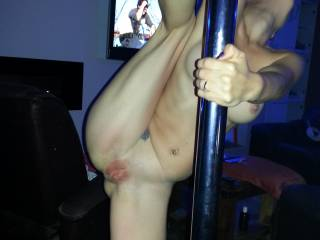 My pole dancing pole comes in very handing for getting my ass and pussy spread wide open. Mr CC wants someone to join us and fuck my tight little ass while fuck my pussy - anyone up to the task....?