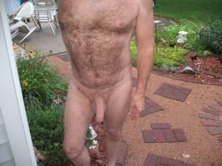 enjoying a nice nude morning outside