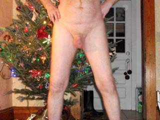 naked in front of tree