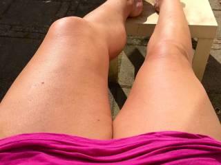 Enjoying the sprintime sun. Hot legs or what?