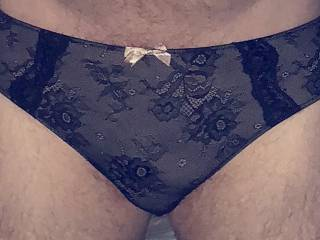 See through black panties with pink bow