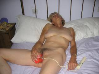 Here she is enjoying one of her toys to relax and get ready for a hot sticky fuck