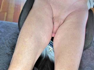 showing my legs and flaccid cock. wanting someone to lick it.