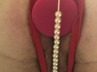 So my wife and I decided on a day of bdsm. This is what she has worn all day and the plug is huge but she loves it. Now the ropes and fun is about to really begin!