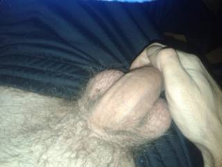 teasing girlfriend ;) Not show too much, but just little to make her imagination start to go wild and of course bigger passion, hotter sex ;))) And still, she can see most of the cock, but still head is missing ;))