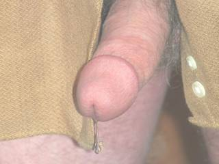 My juicy dripping cock..want to lick it off?