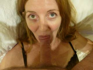 my reward after teasing hubby in black lingerie and flashing my pussy and tits. a nice hard cock in my mouth......   yummy
