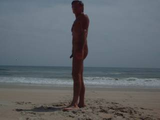 Mr. F in the sunset, on a nude beach during vacation.  From Mrs. F