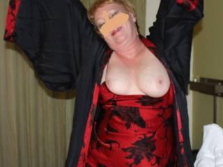 Posing in her new lingerie.  So lovely don\'t you agree?