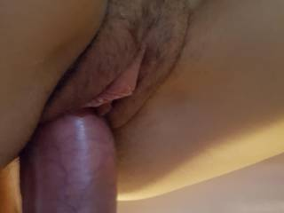 My fat cock sliding into the GF's pussy, anyone else like my thick cock?