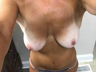 Quick pic of me getting ready for work today. Need someone to rip my panties off and fuck me hard & deep!!! Anyone?