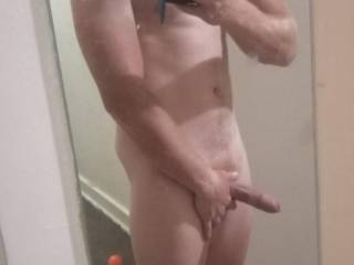 Showing my long cock