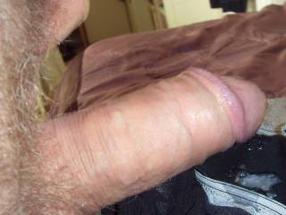 Cumming all over panties, foreskin pulled back