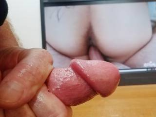 Cock is throbbing to mendezp\'s spread ass while she gets a hard cock deep in her pussy! Gonna have to start stroking to it now! I wounder if she wants my cock in her tight asshole? More to Cum!