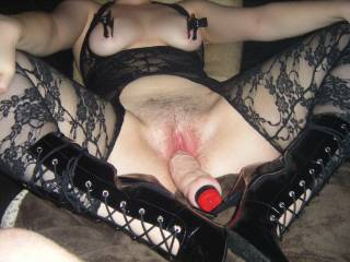 I think you could take some more if the dildo and probably some clamps on your hot pussy lips too. I'd love to lick your nipples when the clamps come off xoxoxo peter