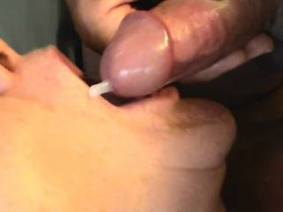 My girlfriend getting a mouthful after a long blowjob with lots of ball sucking. She wants to share the load with another female, any one interested?????????????