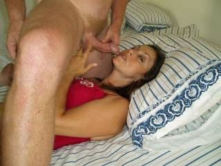 Candi Annie takes another full load of Al\'s cum overflowing her mouth and off her cheek.. ...