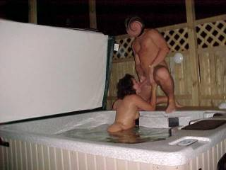 """You two put the """"hot"""" in hot tub. That looks like so much fun. Thank you for sharing."""