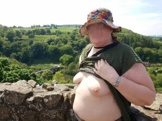We visited Ludlow Castle today, nice place to get the boobs out. People in the carpark below could see if they looked up.
