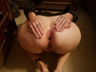 So horny when we got home she went straight to floor to let me know what she wanted.