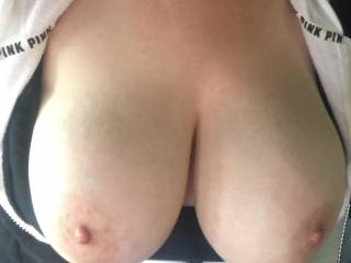 Just a picture my sexy boyfriend took today after he teased my nipples  ��