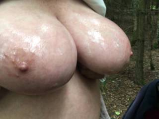 Rather close - to BIG OILED TITS !!
