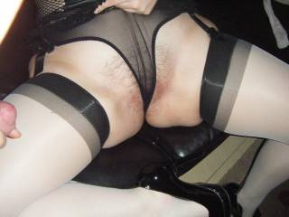 Now thats a great way to wear panties. Your sweet lips look fantastic grabbing the sheer material  oxox peter