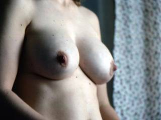 Very sexy boobs, we would love to take turns to lick...