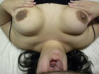 Lucky guy nice breasts, we want to try , i can face fuck you and the wife can tongue fuck you!