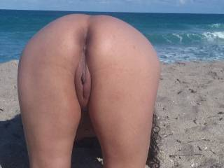 At the nude beach...
