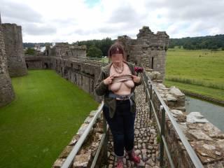 On the battlements at Beumaris Castle