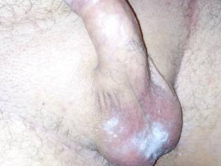 Husband cock covered in wife's cum