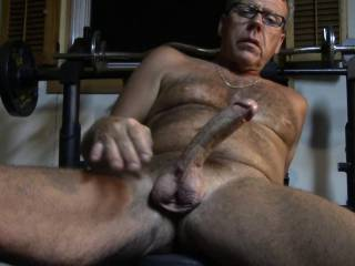 putting my old cock out for you, yes it is an old dick and has been around, but it still gets hard and is fairly large yes? Forgot to take my glasses off like the studious slut look?