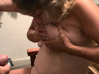 He wanted to see if I could suck on my own tit/nipple, so I showed him that I could and while I did he was encouraging me to keep doing it. Do you like to see women sucking on their own tits?
