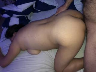 He turns her to all four after she has sucked him hard so he can fuck her doggy