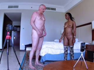 Watch an interracial porn casting action behind the scenes with pornstars Ana Loxx and Cane
