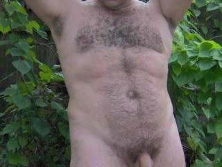 Being naked and frisky outdoors...love it!  very Sexy man!!