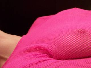 Can you see the pink of my suckable nipples through the pink mesh?