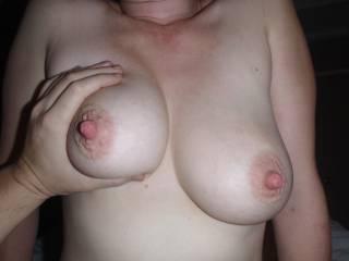 wanna suck on those hot juicy tits and slap my black stick hard!!