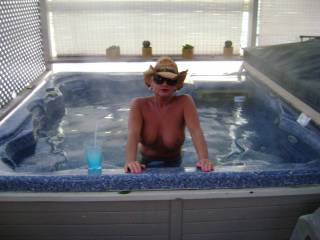 sure! may i serve you? hot tub is right sized for an orgy!