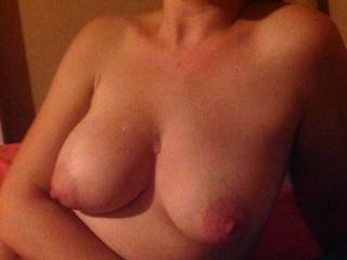 I wouldn't be able to resist cumming on those beautiful titties!  Very nice!