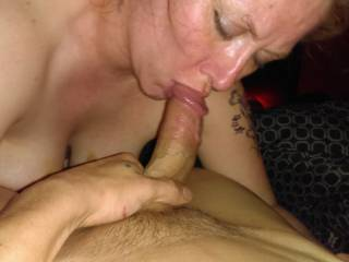Sucking the head off my cock