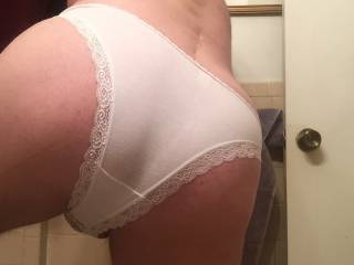 My ass in lace trimmed panties