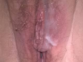 Mmmm...Warm creamy cum on my pussy!