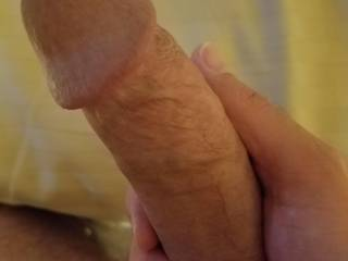 Was chatting with a friend. She got my cock nice and hard.